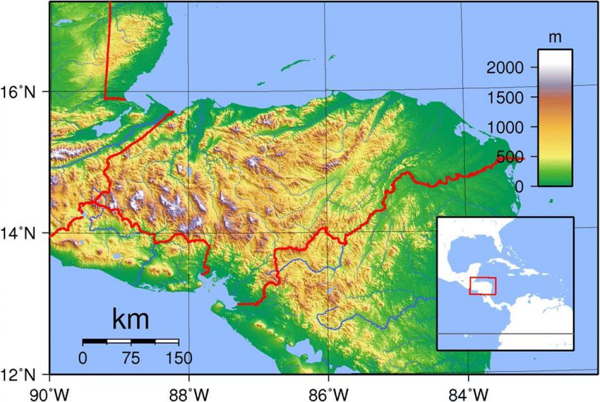 Honduras Topografisk Karta Karta Over Honduras Topografiska